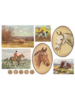 """Рисовая бумага для декупажа Stamperia DFS146 """"Охота, всадник, лошади"""", 33x48 см, 20г/м2"""