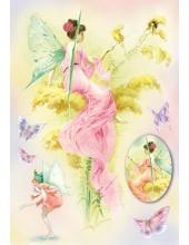 """Рисовая бумага для декупажа Stamperia DFS148 """"Цветочные феи и бабочки"""", 33x48 см"""
