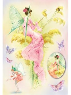 """Рисовая бумага для декупажа Цветочные феи и бабочк"""", 33x48 см,  Stamperia DFS148"""