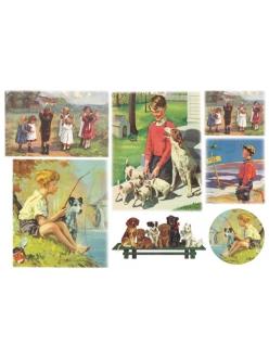 Рисовая бумага для декупажа Дети и собаки, 33x48 см, Stamperia DFS153
