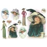 """Рисовая бумага для декупажа Stamperia DFS155 """"Женщина в шляпке"""", 33х48 см"""