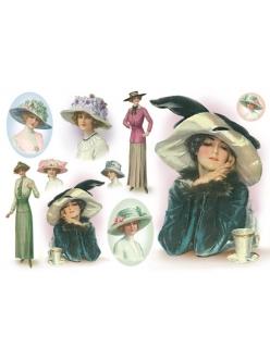 Рисовая бумага для декупажа Женщина в шляпке, 33х48 см, Stamperia DFS155