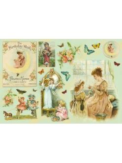 Рисовая бумага для декупажа Весна, дети, винтаж, 33x48 см, Stamperia DFS162