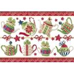 """Рисовая бумага с золотом Stamperia DFS170G """"Рождественсое чаепитие"""", 33х48 см"""