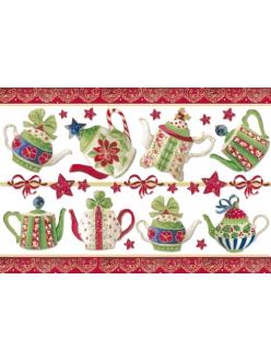 Рисовая бумага с золотом Рождественсое чаепитие, 33х48 см, Stamperia DFS170G