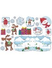 """Рисовая бумага для декупажа Stamperia DFS176 """"Олень, снеговик, подарки"""", 33х48 см"""