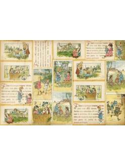 Рисовая бумага для декупажа Детская книжка, страницы,  Stamperia DFS178, 33х48 см
