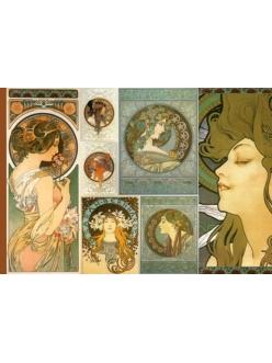 Рисовая бумага с золотом Женщины, Альфонс Муха, 33х48 см, Stamperia