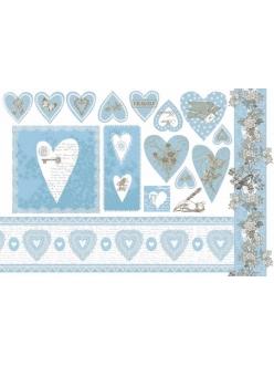 """Рисовая бумага для декупажа Stamperia DFS182 """"Голубое кружево, сердечки"""", 33х48 см"""