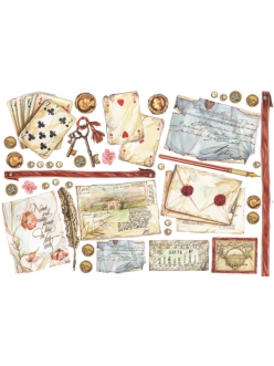 Рисовая бумага для декупажа Игральные карты и открытки обманки, 33х48 см, Stamperia DFS184