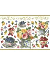 """Рисовая бумага с золотом Stamperia DFS185G """"Чайник, чашки и цветы"""", 33х48 см"""