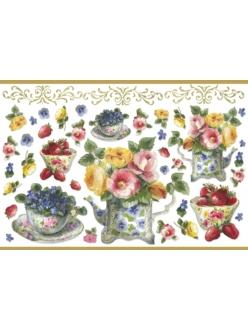 Рисовая бумага с золотом Stamperia Чайник, чашки и цветы, 33х48 см