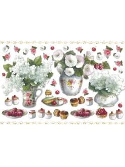Рисовая бумага для декупажа Букеты в вазах и сладости, 33х48 см, Stamperia