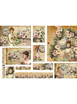 Рисовая бумага для декупажа Женщины и часы, винтаж, 33х48 см, Stamperia DFS196