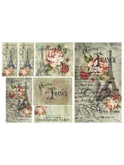 Рисовая бумага для декупажа Путешествие во Францию, 33х48 см, Stamperia