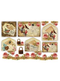 """Рисовая бумага для декупажа Stamperia DFS202 """"Старые открытки с птицами и розы"""", 33х48 см"""