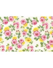 """Рисовая бумага для декупажа Stamperia DFS206 """"Розовые и желтые цветы"""", 33х48 см"""