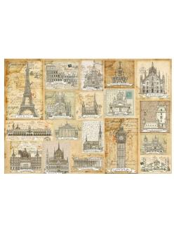 Рисовая бумага для декупажа Открытки, столицы мира, 33х48 см, Stamperia