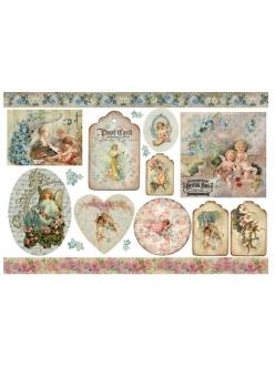 Рисовая бумага для декупажа Винтажные ангелы, 33х48 см, Stamperia DFS209