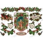 """Рисовая бумага для декупажа Stamperia DFS220 """"Рождественские гирлянды, Санта"""", винтаж, 33х48 см"""