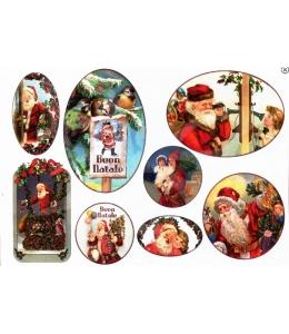"Рисовая бумага для декупажа Stamperia DFS232 ""Санта с подарками"", винтаж, 33х48 см"