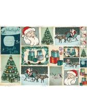 "Рисовая бумага для декупажа Stamperia DFS241 ""Новогодние подарки"", винтаж, 33х48 см"