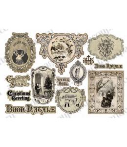 """Рисовая бумага для декупажа Stamperia DFS243 """"Рождественские рамки и надписи"""", винтаж, 33х48 см"""