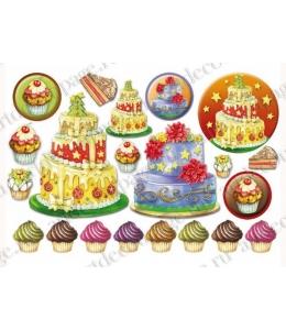 "Рисовая бумага для декупажа Stamperia DFS246 ""Новогодний торт"", 33х48 см"