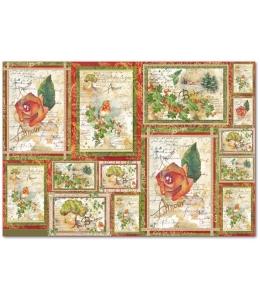"""Рисовая бумага для декупажа Stamperia DFS280 """"Розы и поэзия"""", 33x48 см, 20г/м2"""