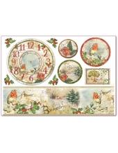 """Рисовая бумага для декупажа Stamperia DFS281 """"Новогодние часы, птицы и поэзия"""", 33x48 см, 20г/м2"""
