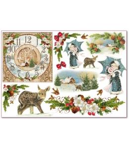 """Рисовая бумага для декупажа Stamperia DFS283 """"Рождественские часы и олень"""", 33x48 см, 20г/м2"""