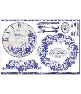 """Рисовая бумага для декупажа Stamperia DFS295 """"Синие часы"""", 33x48 см, 20г/м2"""