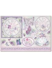 """Рисовая бумага для декупажа Stamperia DFS311 """"Часы, бабочки и сирень"""", 33x48 см"""