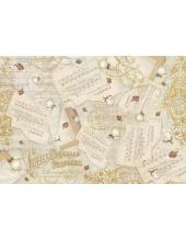 """Рисовая бумага для декупажа Stamperia DFS348 """"Цветы и ноты"""", 33x48 см"""