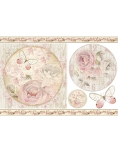 "Рисовая бумага для декупажа Stamperia DFS350 ""Шебби розы, рамки"", 33x48 см"