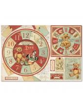 """Рисовая бумага для декупажа Stamperia DFS359 """"Мишки Тедди, часы"""", 33x48 см"""
