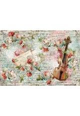 """Рисовая бумага для декупажа Stamperia DFS372 """"Розы и скрипка"""", 33х48 см"""