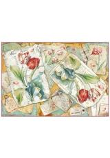 """Рисовая бумага для декупажа Stamperia DFS375 """"Тюльпаны и письма"""", 33х48 см"""