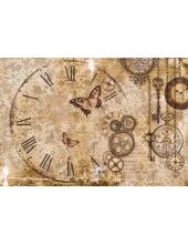 "Рисовая бумага для декупажа Stamperia DFS386 ""Часы, кружево, бабочки"", 33х48 см"
