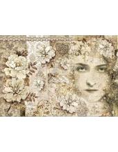 "Рисовая бумага для декупажа Stamperia DFS389 ""Лица, кружева и цветы"", 33х48 см"