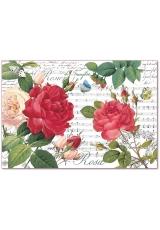 """Рисовая бумага для декупажа Stamperia DFS397 """"Красные розы и ноты"""", 33х48 см"""