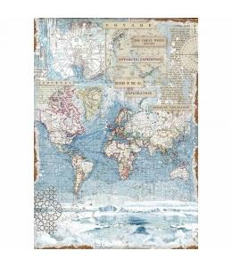 """Рисовая бумага для декупажа Stamperia DFSA3078 """"Карта мира"""", формат А3"""