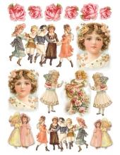 """Рисовая бумага для декупажа Stamperia DFSA4012 """"Дети и розы, винтаж"""", формат А4"""