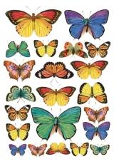 """Рисовая бумага для декупажа Stamperia DFSA4022 """"Коллекция бабочек"""", формат А4"""