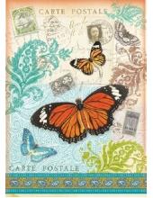 """Рисовая бумага для декупажа Stamperia DFSA4024 """"Бабочки, открытки"""", формат А4"""