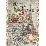 """Рисовая бумага для декупажа Stamperia DFSA4026 """"Путешествие во Францию 2"""", формат А4"""