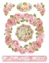 """Рисовая бумага для декупажа Stamperia DFSA4029 """"Венок из роз, ангелы"""", формат А4"""