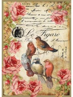 Рисовая бумага для декупажа Птицы и розы, формат А4, Stamperia DFSA4034