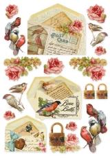 """Рисовая бумага для декупажа Stamperia DFSA4035 """"Открытки с птицами"""", формат А4"""