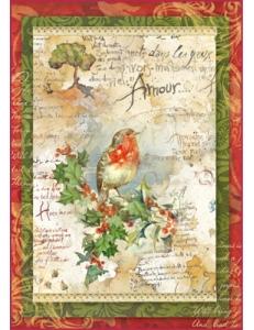 """Рисовая бумага для декупажа Stamperia DFSA4037 """"Рождественские цветы и поэзия"""", формат А4"""